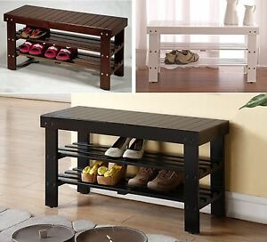 black wood entryway benches with shoe storages | Legacy Decor Solid Wood Shoe Bench with Two Racks, White ...
