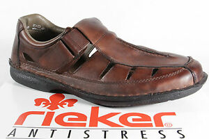 Details about Rieker Slippers Sneakers Low Shoes Brown Soft Leather Insole