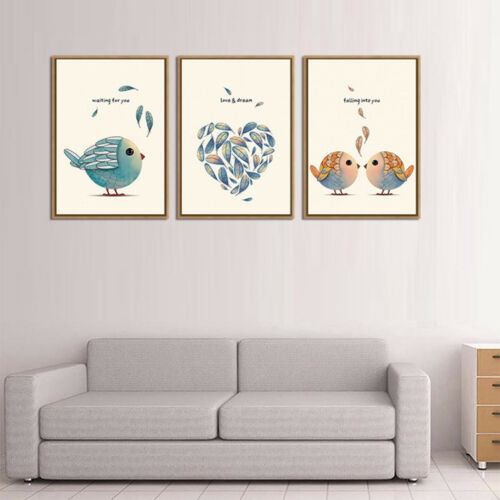 3 Panels Canvas Prints Lovely Wall Art Paintings Cute Artwork for Room Decor