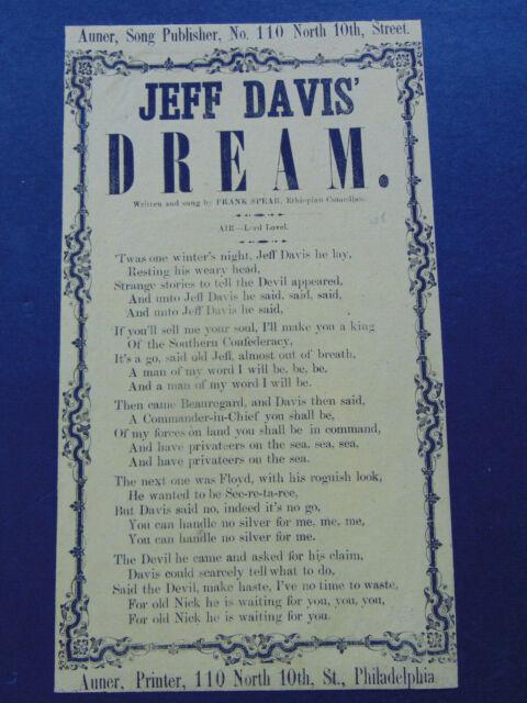 ANTIQUE CIVIL WAR SONG SHEET / BROADSIDE - JEFF DAVIS' DREAM