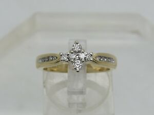 Details about KEEPSAKE 14k Yellow Gold Round Diamond Illusion Accent  Engagement Ring Size 7 25