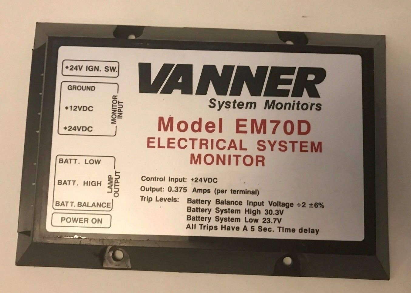 Vanner System Monitors- Model EM70D (Free Shipping    )