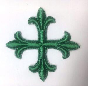 Vintage-Frances-Cruz-3-034-Bordado-para-Coser-Verde-un-Emblema-Parche-2PC