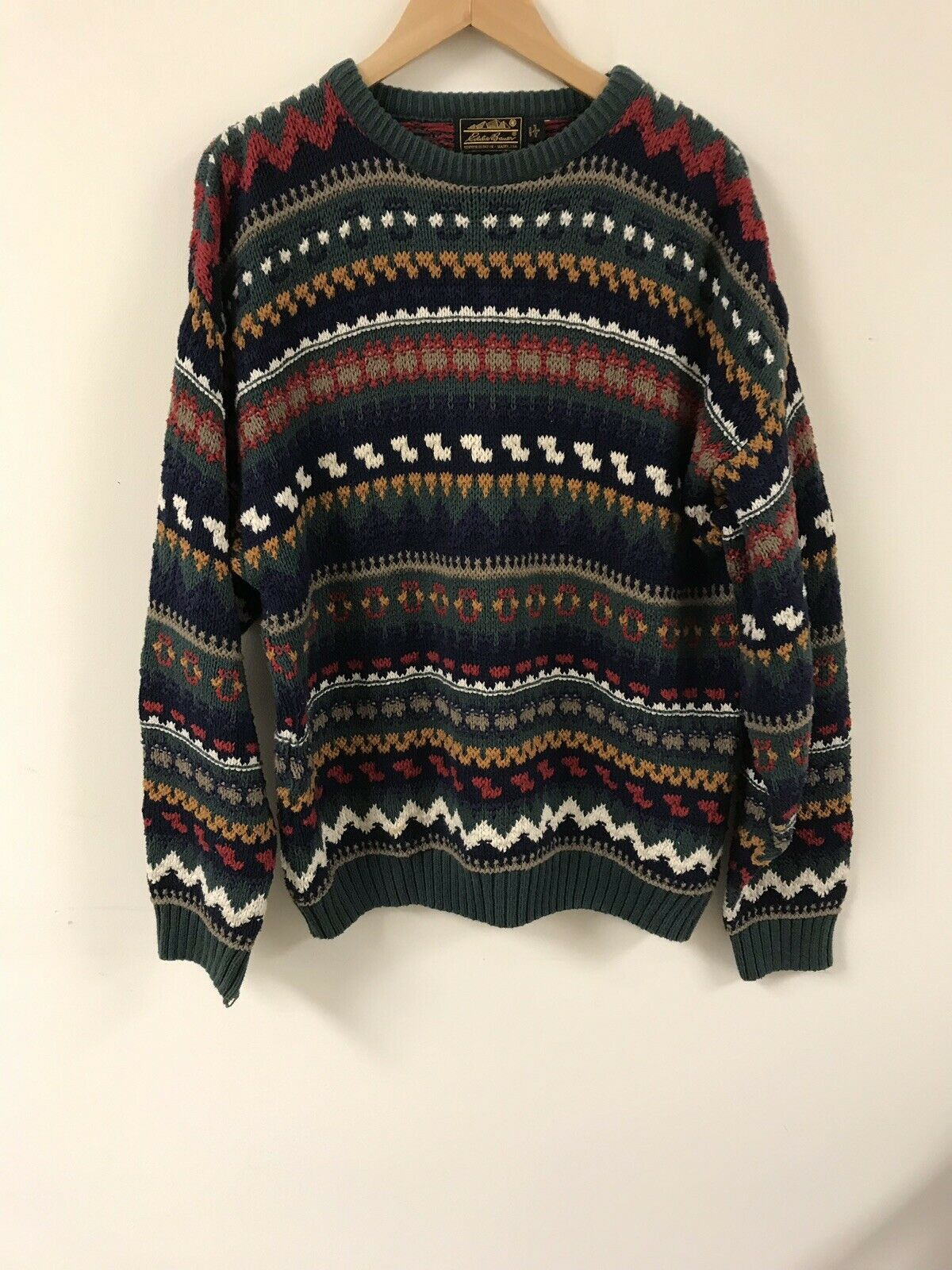Vintage Made In USA Eddie Bauer Mens Chunky Cable Knit Sweater Size LARGE