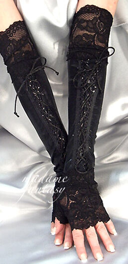GOTH BLACK WET LOOK LACE UP XX LONG FINGERLESS GLOVES ARM WARMERS