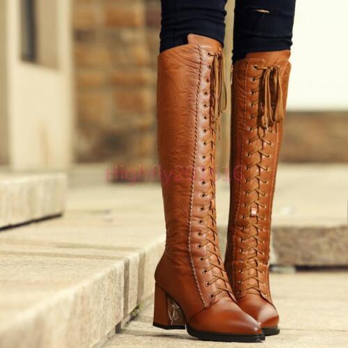 2019 Damen Stiefel Schnürschuhe Stoffdruck Gr.34-40 Lederimitat mit Dick Absatz