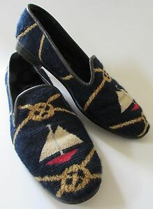 60df585b333 Larkspur Collection Needlepoint Shoes Navy Blue Red Nautical Sail ...