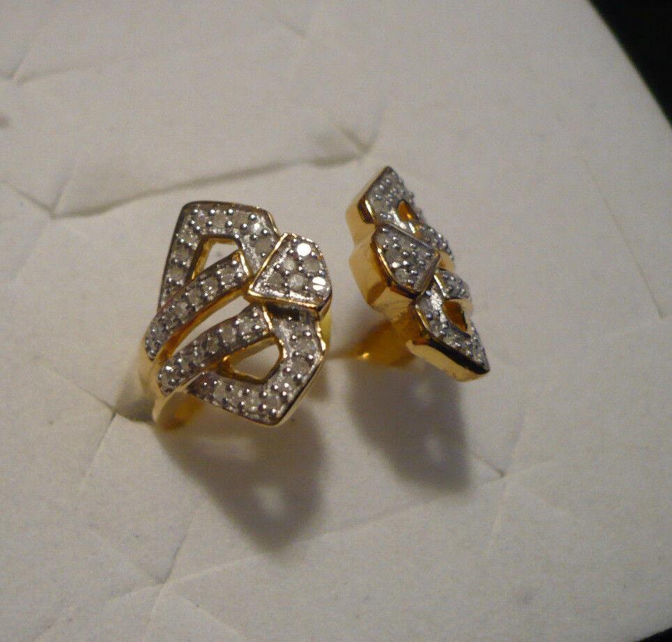 Diamond Ring Sz 9  72 diamonds  .65tcw 14kYG overlay 925  MSRP 1649