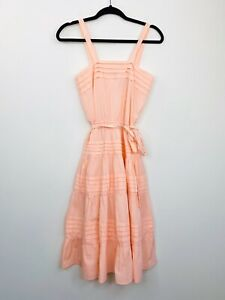 Vintage-Womens-70s-Sundress-Pink-Fit-amp-Flare-A-Line-Sleeveless-Size-10