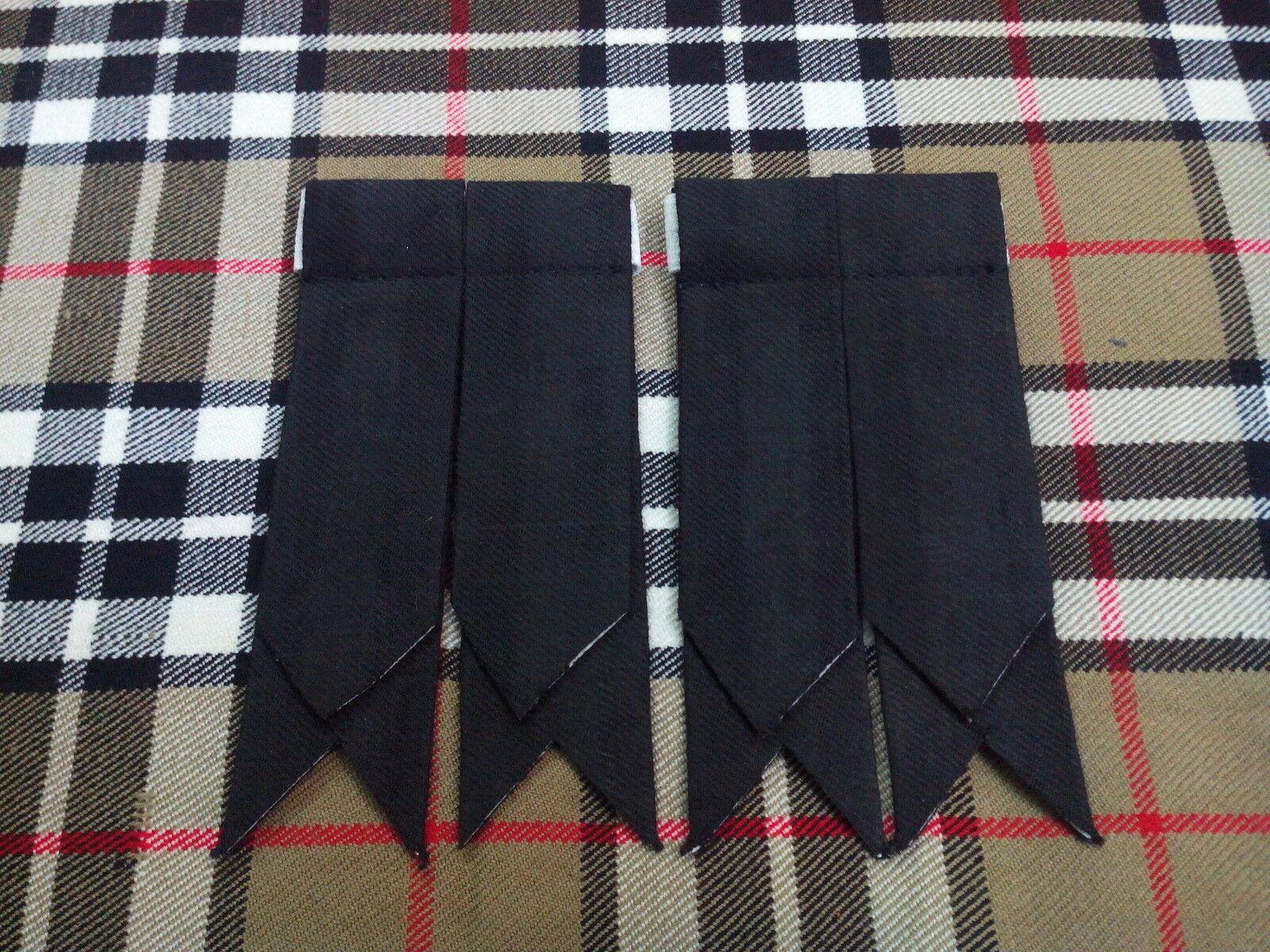 new pair plain tartan black kilt sock flashes scottish kilt sock