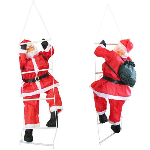 Weihnachtsmann auf Leiter 90cm Weihnachts Deko Weihnachten Figur Nikolaus