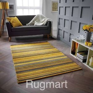 Image Is Loading Striped Ochre Yellow Grey High Quality Modern Hand
