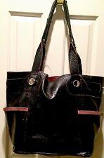 Huge B Makowsky Glossy Leath/Suede Black/Pink Open Shou Bag Purse Tote Satc ��