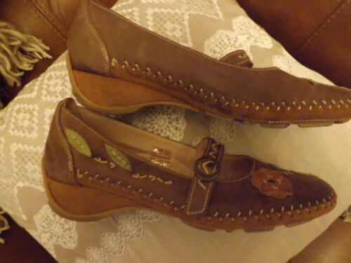 Appliqued suede Ladies Brown Brand By Gorgeous New Leather K Size 6 Shoes Clarks 4CzUO