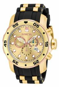 Invicta-17884-Men-039-s-Gold-Dial-Gold-Steel-amp-Rubber-Strap-Watch