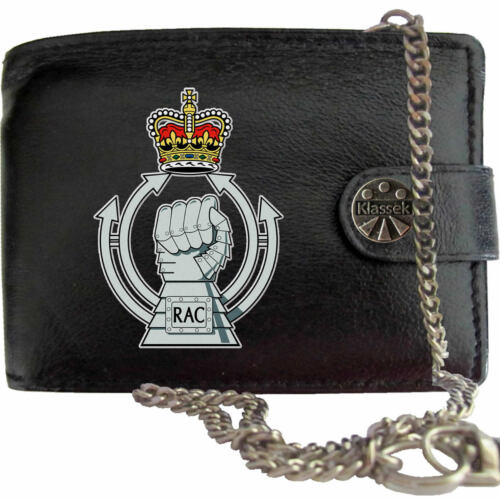 The Royal Armoured Corps Army on Mens Wallet Real Leather RFID Chain Keyring
