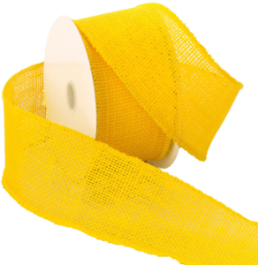 "Morex Ribbon Burlap Wired Ribbon, 2.5"" x 10 Yd, Bright Yellow"