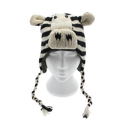 Fun Zebra Realizzata A Mano Invernale Lana Cappello Animale, Fodera In Pile, Taglia Unica, Unisex-mostra Il Titolo Originale Promuovi La Produzione Di Fluidi Corporei E Saliva