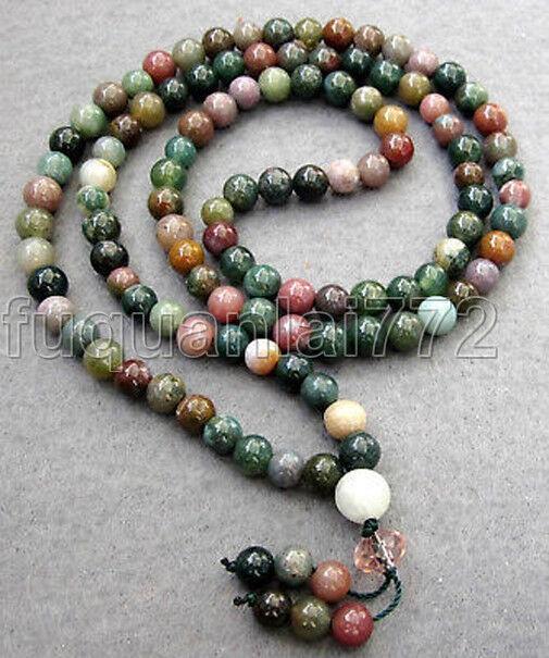 New Tibetan Buddhist 108 Moss Agate Gem Prayer Beads Mala Necklace