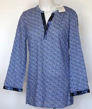 NWT NEW Dalia Blue & White Print Boho L/S Tunic Top Blouse  S Small