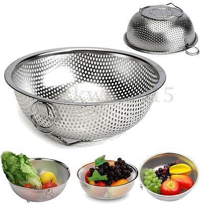 Stainless Steel Kitchen Mesh Sifter Colander Strainer Sieve Fruit Food Basket