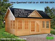 "BZB Log  Cabin Kit Lakeview: 17' x 12'6"", Inside: 209/SQF, 1-3/4"" Wall Thickness"