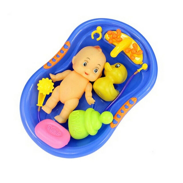 5x Baby Doll in Bath Tub with Duck+Shower Accessories Set Kid Pretend Play ToyAT
