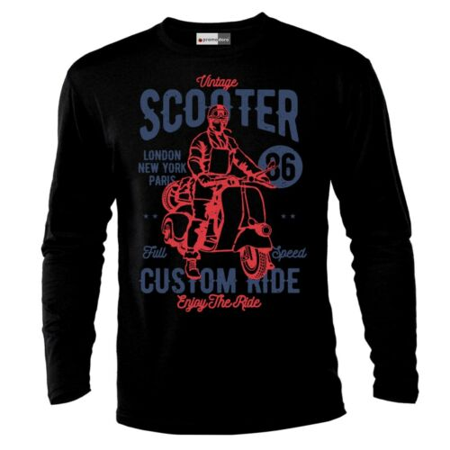 Vintage Scooter Motorcycle Chopper Motocross Racer Racing Long Sleeve T-Shirt