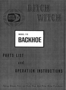 ditch witch  backhoe attachment parts operators manual
