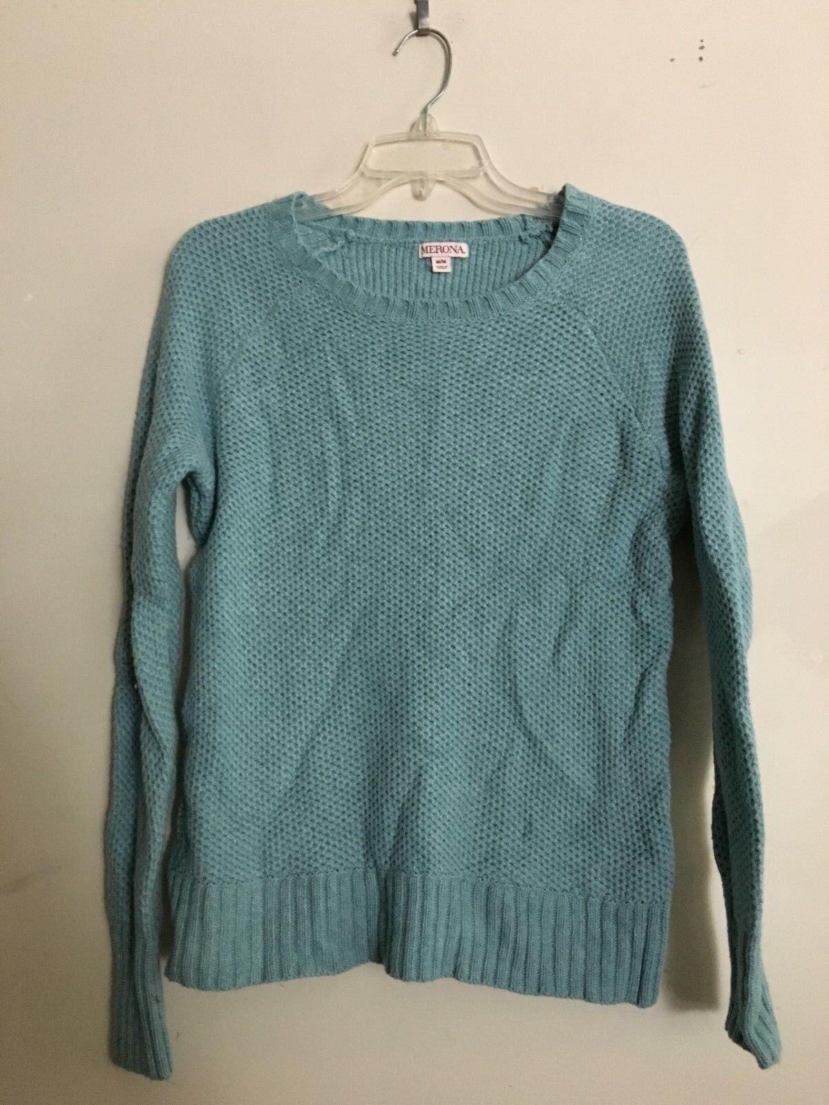 Merona Teal bluee Cotton Wool Blend Women Knit Sweater Size M