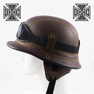 161a76206e3 Image is loading Brown-WWII-German-Style-Motorcycle-Half-Helmet-Skull-
