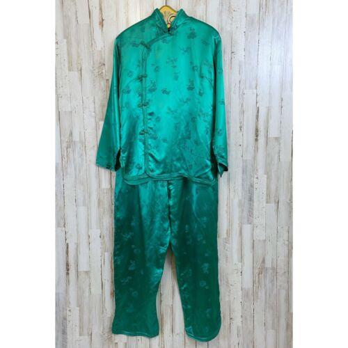 Esme Vintage Green Satin Asian Style pajamas Do Se
