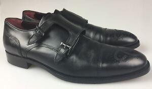 Johnston Murphy 15-4817 Double Buckle Monk Strap Black Leather Cap Toe Sz 10