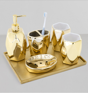 5pcs Gold Bathroom Accessory Set Ceramic Bathroom Toiletries Set Toilet Articles Ebay