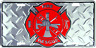 """Fire Dept Diamond License Plate Department Red 6""""x12"""" License Plate Tag Made USA"""