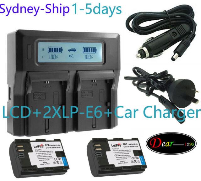 ^_^AU-ship Dual Charger +2xLPE6 LP-E6 LP-E6N for Canon EOS 5D 6D 7D Mark 70D 80D