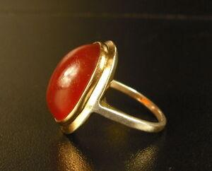 Bague Poinçon Tête D'aigle Or & Argent Gold & Silver Grenat Garnet ? Woman Ring
