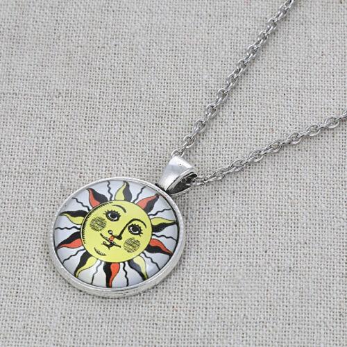 Smile Stripe Sun Glass Cabochon Pendant Necklace Silver Chain Charm Jewelry Gift