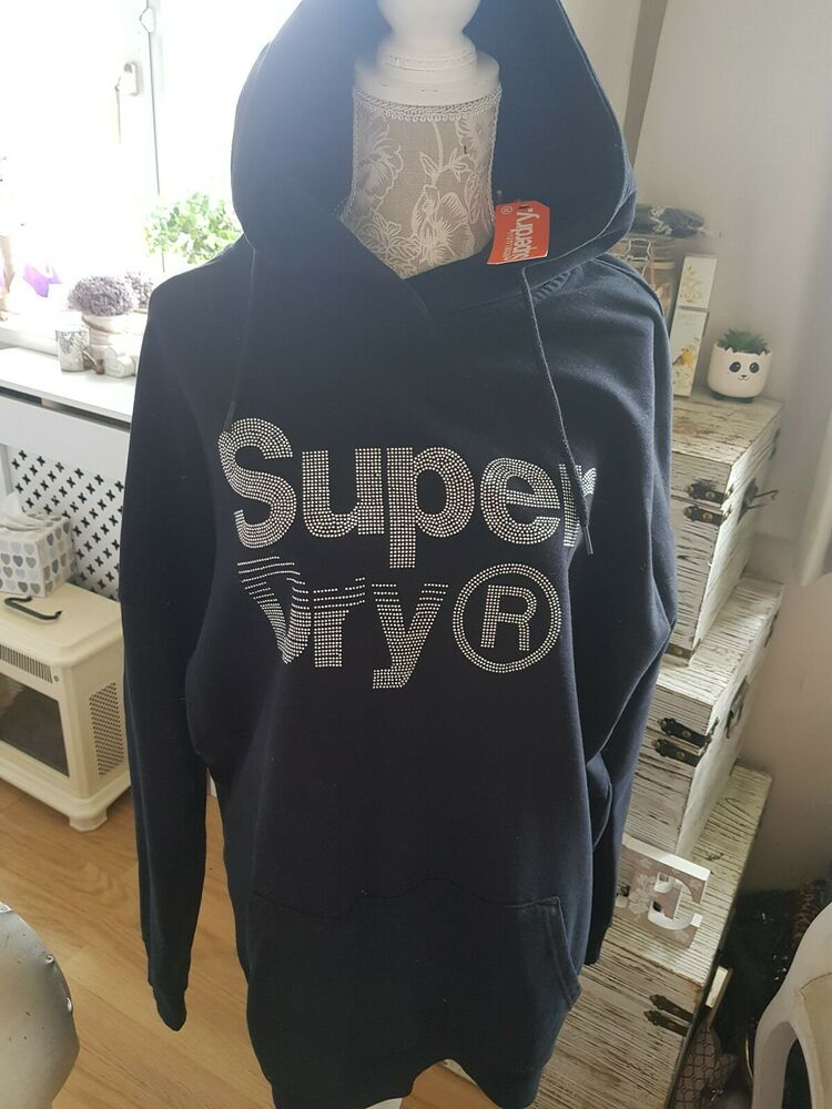Superdry Strass Sweat à Capuche Sweat-shirt L Femme Bnwt