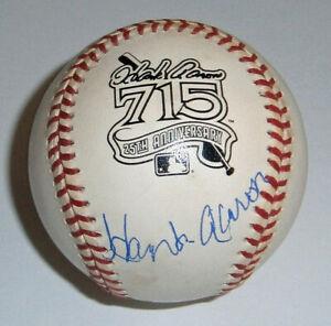 BRAVES Hank Aaron signed 715 HR Logo baseball JSA LOA AUTO Autographed 25th Aniv