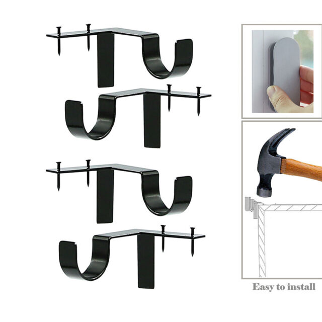 Hanging Rack Hook Shower Curtain Pole Bracket Curtain Rod Brackets Fixed Clip