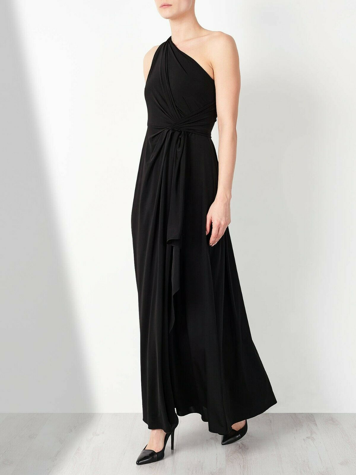 John Lewis schwarz One Shoulder Long Dress Größe Brand New RRP