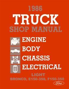 1986 Ford Truck Bronco Econoline Shop Service Repair Manual Engine Drivetrain OE