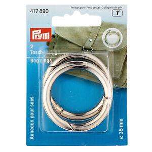 Prym-Anelli-di-tasca-argento-2-pezzi-35mm-taschenverschlus-MOSCHETTONE-417890