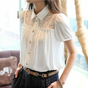 bc198b7c774 Women Summer Lolita Puff Short-sleeve shirt OL Blouse Chiffon Lace ...