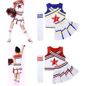 Image is loading Girl-Cheerleader-Uniform-Outfit-Costume-Children -Fancy-Dress- 66e4443d1