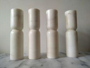 4 Grands Bougeoirs En Marbre Blancbauhaus Art Minimal Sculpture