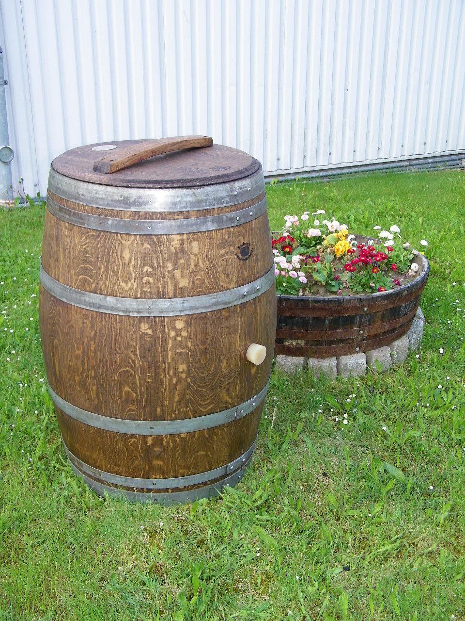 225L Weinfass Regentonne aufgearbeitet und geölt im Farbton Palisander