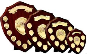 Triumph Annual Wooden Shield Gold Trims 5 Sizes Free Engraving up to 30 Letters