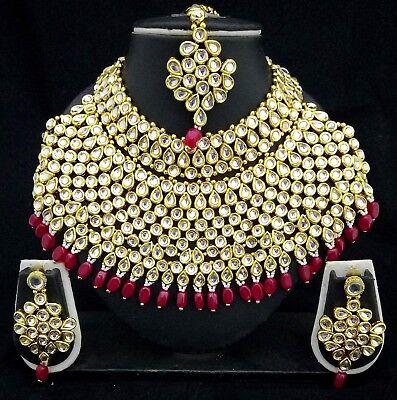 Designer 18K Bollywood Padmavati Style Kundan Pearl Bridal Huge 4p RED Necklace